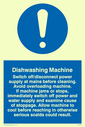 exclamation in blue circle Text: dishwashing machine rules