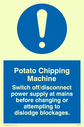 exclamation in blue circle Text: potato chipping machine rules