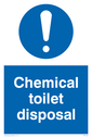 <p>Chemical toilet disposal with exclamation in circle</p> Text: Chemical toilet disposal