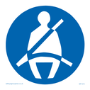 seltbelts must be worn symbol only. Person wearing seatbelt in white on blue circle. Text: seltbelts must be worn symbol only