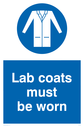 Lab coats must be worn sign with lab coat must be worn symbol - lab coat in white in blue circle Text: Lab coats must be worn
