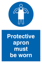 apron symbol Text: protective apron must be worn