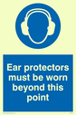 ear protection symbol Text: ear protectors must be worn beyond this point