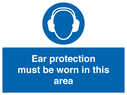 <p>ear protection must be worn with ear protection symbol</p> Text: ear protection must be worn in this area