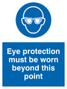 eye protection symbol Text: eye protection must be worn beyond this point