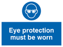 eye protection symbol Text: eye protection must be worn