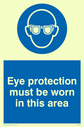 eye protection symbol Text: eye protection must be worn in this area