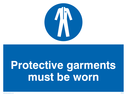 exclamation in blue circle Text: protective garments must be worn