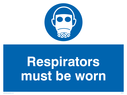 respirators symbol Text: respirators must be worn
