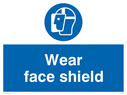 face shield symbol Text: wear face shield