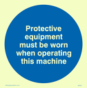 exclamation symbol Text: protective equipment must be worn when operating this machine - (PPE must be worn).