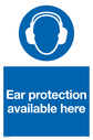 Ear protection mandatory symbol Text: Ear protection available here