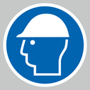 <p>Hard hat symbol only floor graphics</p> Text: Hard hat symbol only floor graphics