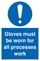 <p>Gloves must be worn with exclamation symbol in blue circle</p> Text: Gloves must be worn for all processes work