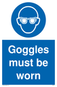 <p>eye protection required mandatory symbol in blue circle</p> Text: Goggles must be worn