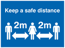 <p>Keep a safe distance</p> Text: Keep a safe distance