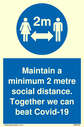 <p>Maintain a minimum 2 metre social distance. Together we can beat Covid-19 with social distancing symbol</p> Text: Maintain a minimum 2 metre social distance. Together we can beat Covid-19