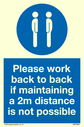 <p>Please work back to back if maintaining 2m distance is not possible with mandatory symbol</p> Text: Please work back to back if maintaining 2m distance is not possible