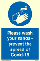 <p>Please wash your hands - prevent the spread of Covid-19 mandatory hand wash symbol</p> Text: Please wash your hands - prevent the spread of Covid-19