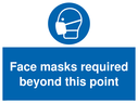 <p>Face masks required beyond this point</p> Text:
