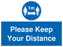 <p>Social Distance 1m symbol with Please keep your distance </p> Text:
