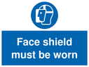 <p>Face shield must be worn</p> Text: Face shield must be worn