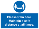 <p>Please train here. Maintain a safe distance at all times.</p> Text: