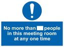 <p>No more than xxx people in this meeting room at any one time</p> Text: