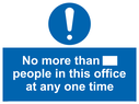 <p>No more than xxx people in this office at any one time</p> Text: