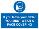 <p>If you leave your table: YOU MUST WEAR A FACE COVERING</p> Text: