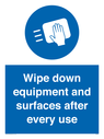 <p>Wipe down equipment and surfaces after every use</p> Text: Wipe down equipment and surfaces after every use