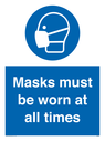 <p>Masks must be worn at all times</p> Text: