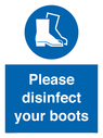 <p>Please disinfect your boots</p> Text: