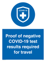 <p>Proof of negative COVID-19 test results required for travel</p> Text: