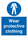 <p>Wear protective clothing</p> Text: