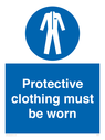 <p>Protective clothing must be worn</p> Text: