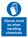 <p>Gloves must be when handling chemicals</p> Text: