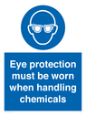 <p>Eye protection must be worn when handling chemicals</p> Text: