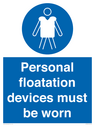 <p>Personal flotation devices must be worn</p> Text: