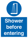 <p>Shower before entering</p> Text: