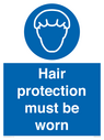 <p>Hair protection must be worn</p> Text: