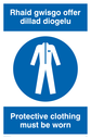 bi-lingual sign - welsh / english with overalls symbol Text: rhaid gwisgo offer dillad diogelu / protective clothing must be worn
