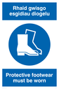 bi-lingual sign - welsh / english with boots symbol Text: rhaid gwisgo esgidiau diogelu / protective footwear must be worn