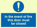 blue circle Text: in the event of fire this door must be closed