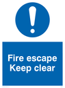 <p>fire escape keep clear with exclamation in blue circle</p> Text: fire escape keep clear