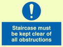 blue circle Text: staircase must be kept clear of all obstructions