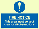 <p>Keep clear of obstructions with blue circle</p> Text: fire notice this area must be kept clear of all obstructions