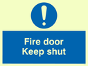 blue circle Text: fire door keep shut