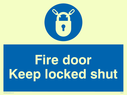 blue circle Text: fire door keep locked shut