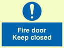 blue circle Text: fire door keep closed